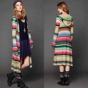 Free People Multicolored Striped Maxi Cardigan